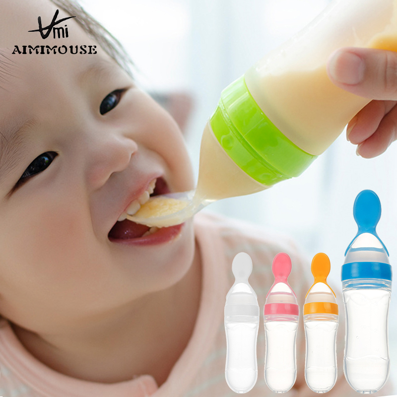 Baby Feeding Bottle With Spoon Food Feeder Food Rice Cereal Feeding Bottles For Baby Kids Safety Bottles Baby Feeding Spoon 90ML