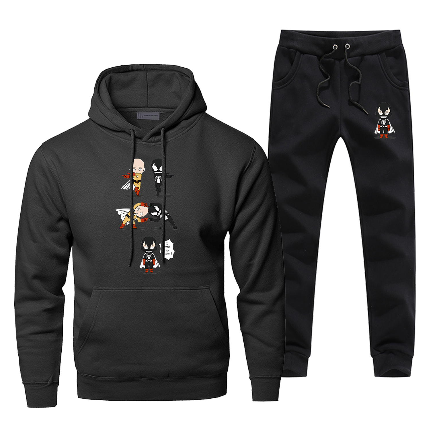 Venom One Punch Man Black Complete Man Tracksuit Super Hero Japan Anime Pants Sweatshirt Fashion Harajuku Sweatsuit 2 Piece Set