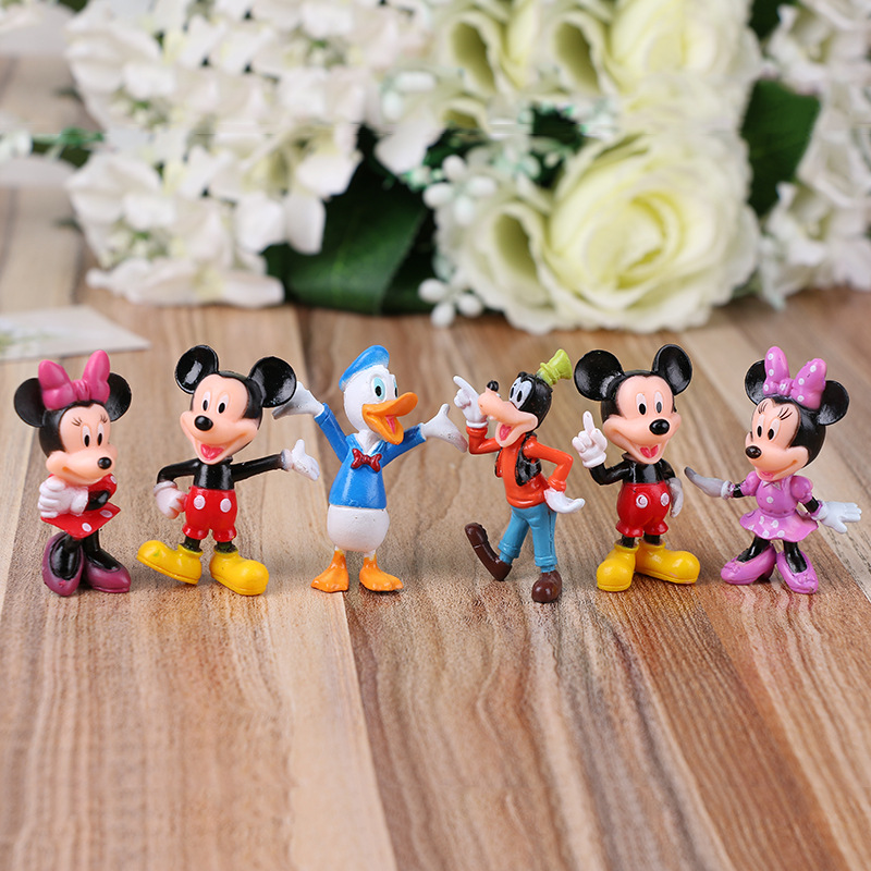 6PCS Disney Toys Mickey Doll Minnie Mickey Mouse Clubhouse Birthday Gifts Cake Decoration Action Figures Toys For Children DS10