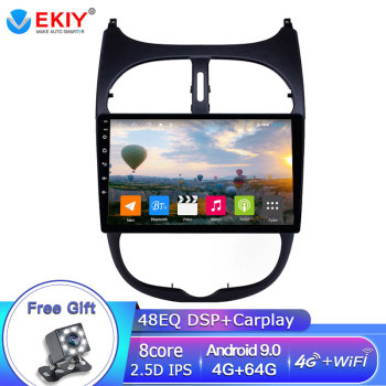 EKIY DSP 4G 64G Android Autoradio For PEUGEOT 206 2001- 2008 Car Radio Multimedia Player GPS Navigation Stereo Tape Recorder DVD image