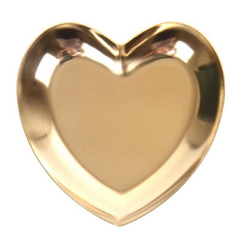 Золотое сердце-образные украшения пластина металлическое ожерелье лоток для сережек настольные украшения лоток для хранения - Цвет: Golden Heart-Shape