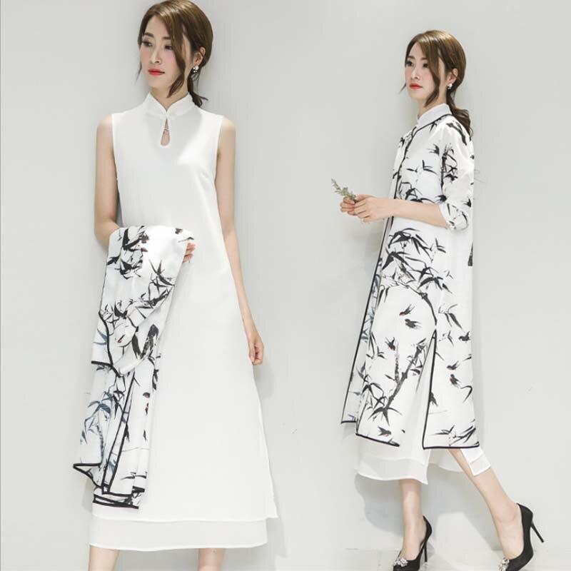 Chinese Oriental Cheongsam Dress Women Ink Bamboo Print Traditional Chinese Wedding Dress Retro Elegance Evening Party Dresses