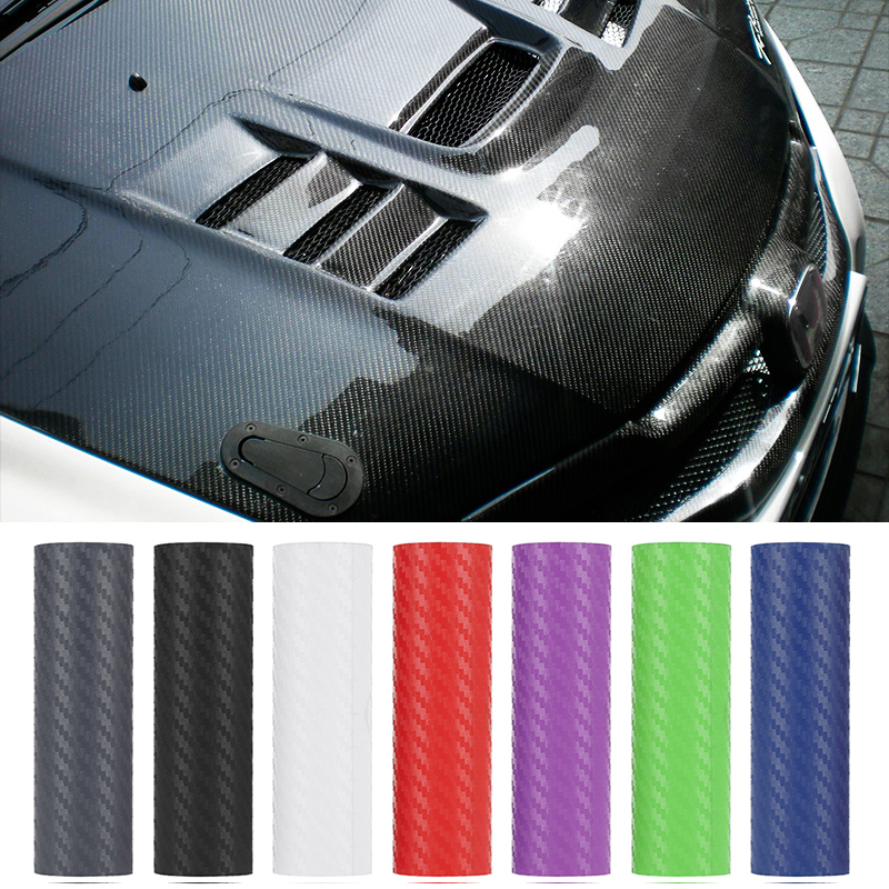 127*10 CM 3D Carbon Fiber Car Color Film Body Sticker Car Decoration Stickers (10 Colors Optional) For Automobile Hood & Handle