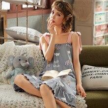 Summer Night Dress Women Cotton Nightgown Spaghetti Strap lovely Sleepwear Nightwear Women Sleep Dress Homewear Home Nightie