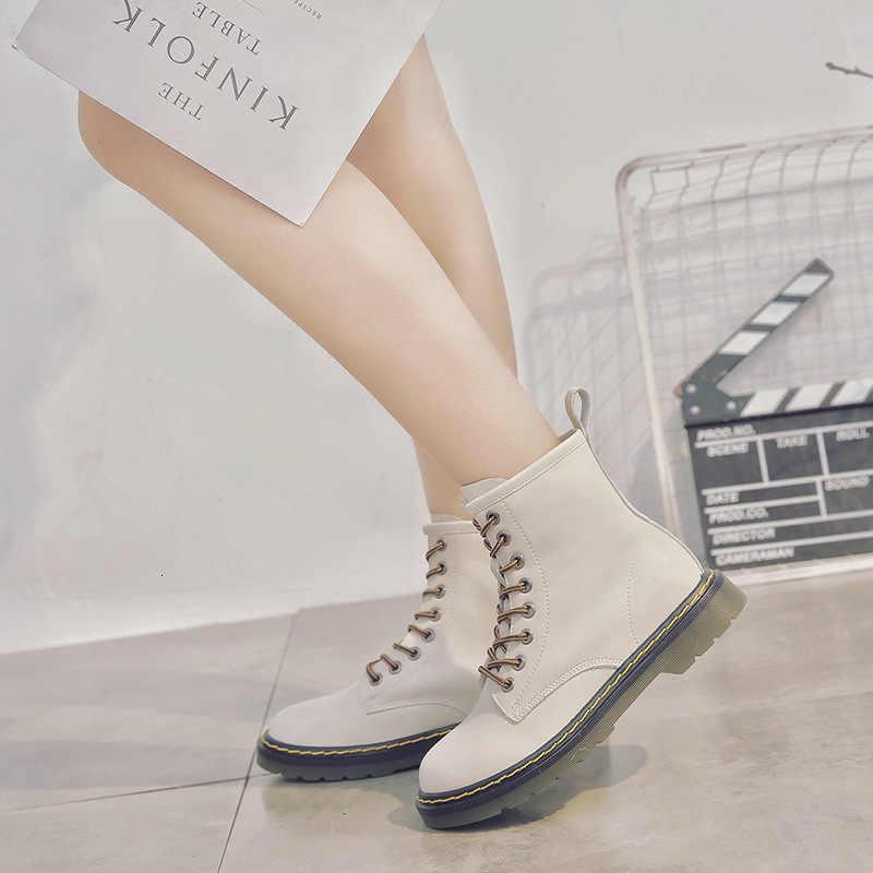 Stivali Donna Ins2019 Breve Stivali Autunno Inghilterra Spessore Fondo Aumento Del Cuoio Genuino Stivali Neri