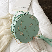 Women Embroidery Flowers Shoulder Bag Leather Handbags Round Hand