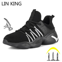 LIN KING New Designer Lightweight Men Women Safety Shoes Steel Toe Puncture Proof Work Boots Casual Outdoor Sneakers For Lovers дутики king boots king boots mp002xw0zwfn