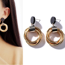 2019 Fashion Punk New Gold Color Round Metal Geometric Statement Wound Drop Earrings For Women Jewelry