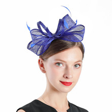 Church Hats Women Elegant Horse Racing Festival Blue Linen Flower Hat Royal Banquet Headdress Bridal Fascinator Wedding Cap