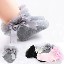 SeckinDogan Cotton Kids Girl Socks Solid Colour Cute Bow Baby