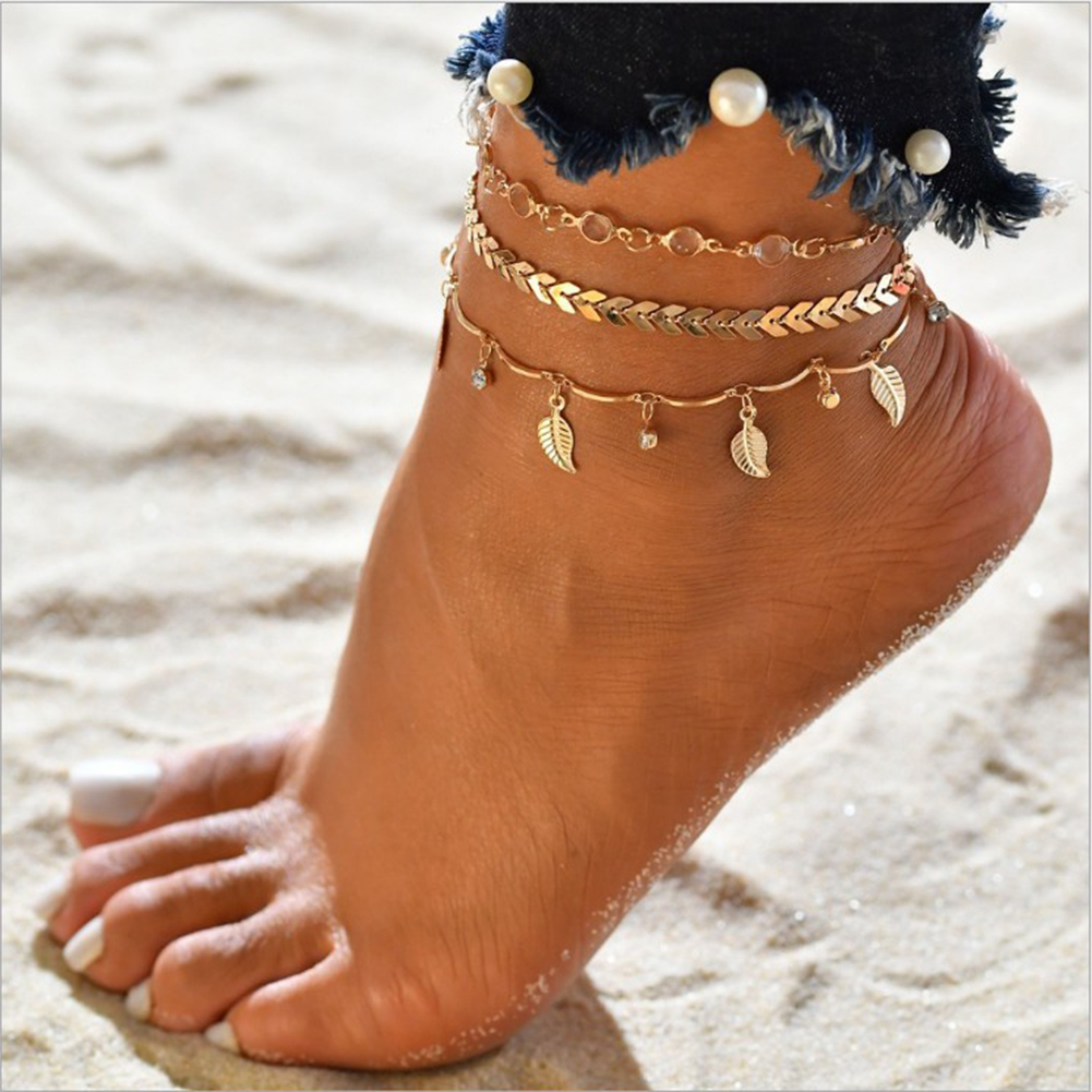 Bohemian Beads Ankle Bracelet for Women Leg Chain Round Tassel Anklet Vintage Foot Jewelry Accessories
