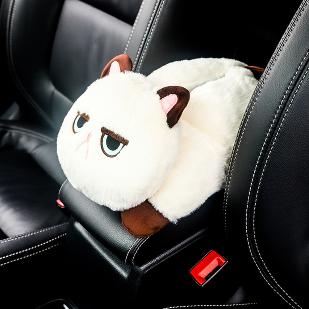 Car Armrest Tissue Box Cute Plush Cartoon Animals Cat Style Multi-use Washable Back Seat Hanging Napkin Holder for Auto Home