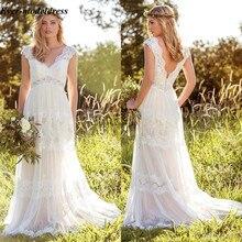 Vestido Novia Spitze Bohemian Wedding Kleider 2020 V ausschnitt Backless Illusion Land Mariage Kleider Sweep Zug Einfache Braut Kleider