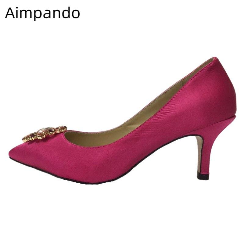 Crystal Rhinestone Mary Janes Bridal Wedding Shoes Thin Heel Pointed Toe Luxury Satin Flower Buckle High Heel Pumps Women