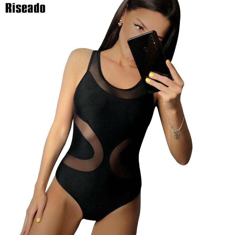 Riseado  Mesh One Piece Swimsuit Solid Swimwear Women Push Up Swimsuits Black Cross Bandage Bathing Suits Summer Beach Wear