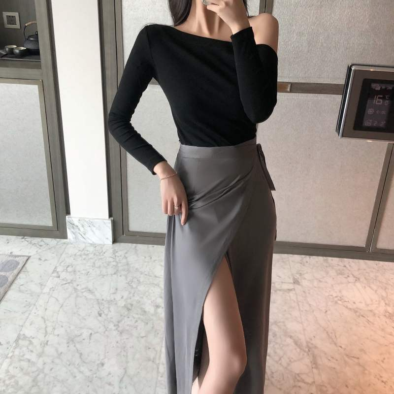 Sexy High-waisted Slit Slim Fit Skirt Women's New Style Summer Mid-length Over-the-Knee Skirt Casual Skirt Women's Fashion