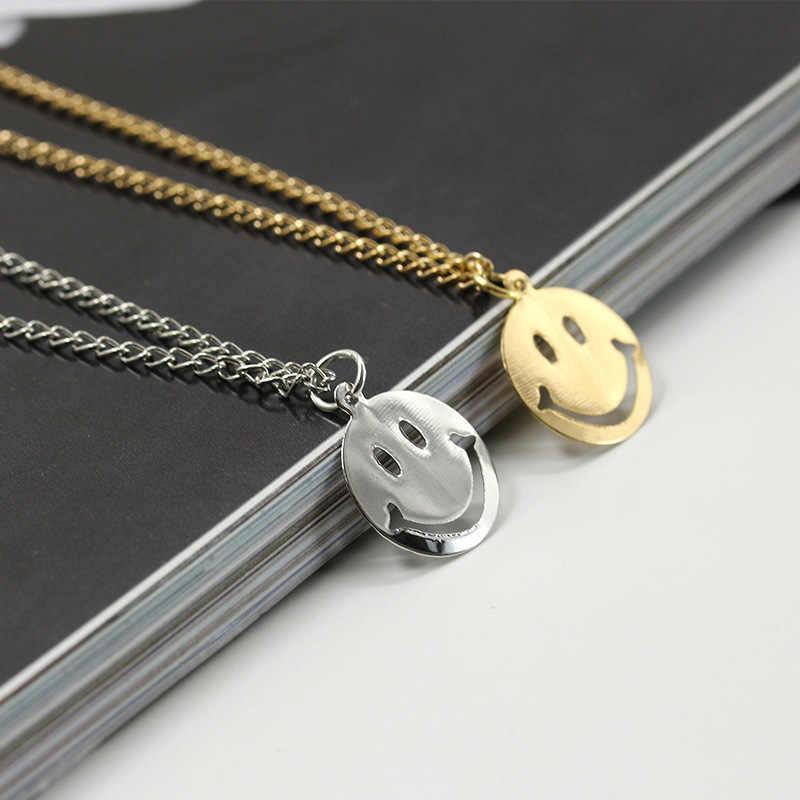 Красивая сотня подходящих аксессуаров маленький свежий Экспрессия пакет ожерелье милый круглый улыбка Замок медная кость цепь