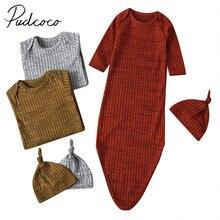 Детское постельное белье, Одежда для младенцев, для маленьких девочек, однотонное трикотажное Пеленальное Одеяло, длинный рукав, в рубчик, спальный мешок+ шапка, комплект От 0 до 1 года