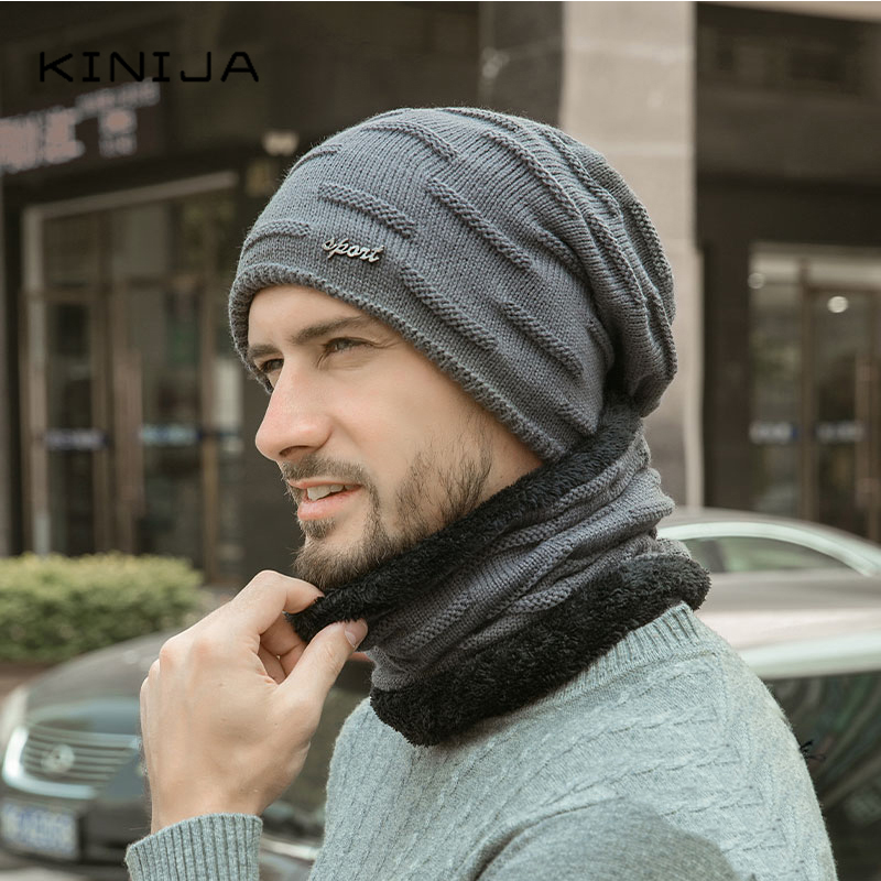 Hat+Scarf Two-piece Set Autumn Winter Wool Caps Neck Warmer Windproof Knitting Caps Velvet Thick Hat  Warm And Thick Wool Hat