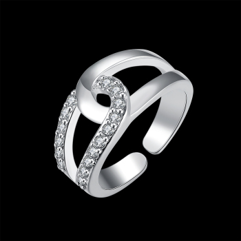 Fashion Shiny Zirconia Elegant Open Ring Rhinestone for Love Wedding Engagement Luxury Jewelry Party Silver Plated LKNSPCR212 image