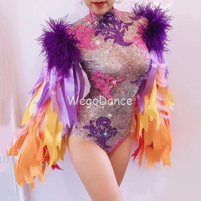 New Colorful Rhinestones Full Glass Rhinestones Ribbon Fringes Bodysuit Birthday Prom Leotard Bar Women Singer Dancer Costume