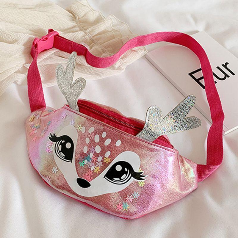 2020 Kids Elk Print Waist Fanny Pack Belt Pouch Travel Hip Bum Shoulder Bag Purse 5 Colors