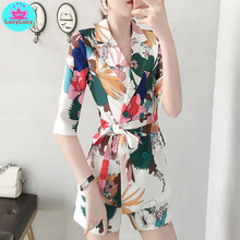 2019 new Korean fashion temperament printed shorts + shirt 2 piece suit female summer dress