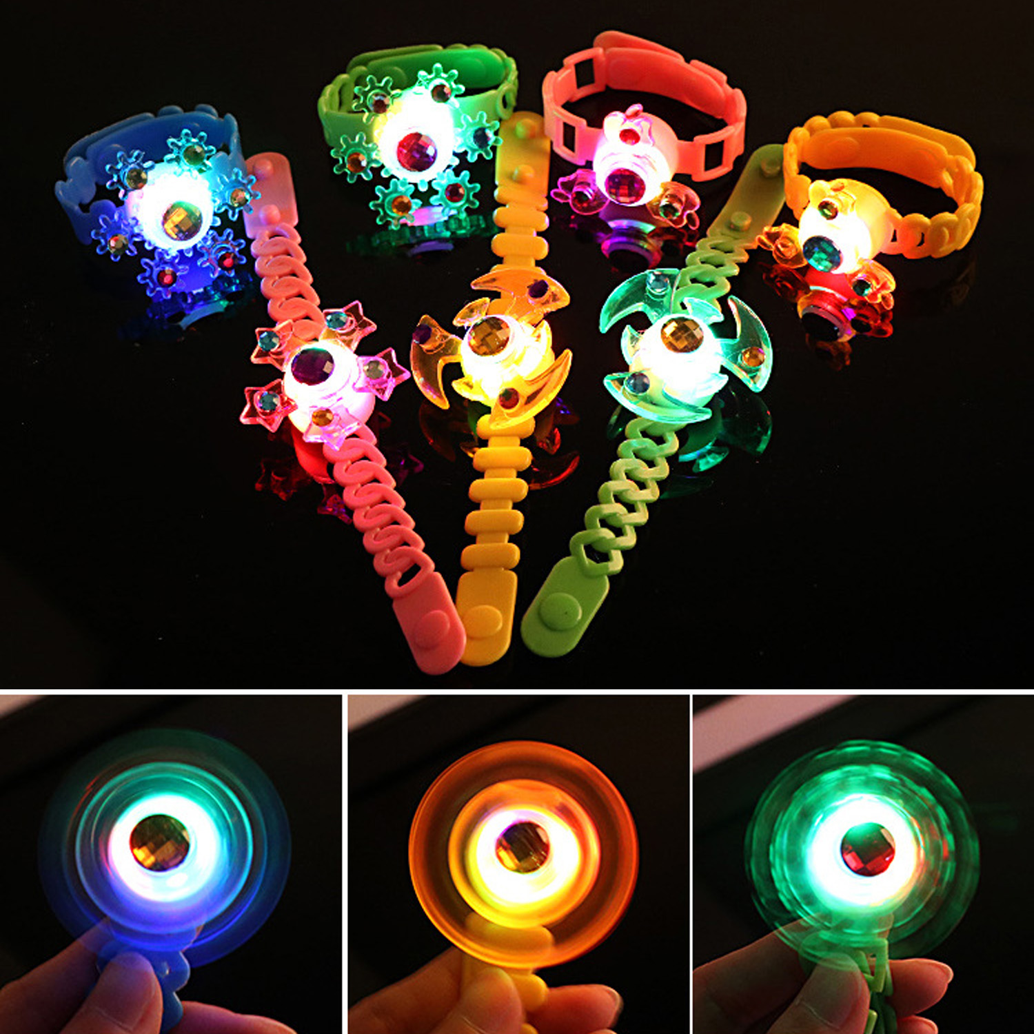 12PCS Assorted Colors Adjustable LED Light-up Spiral Top Bracelets Toy For Kids Children Adults Birthday Halloween Party Favors