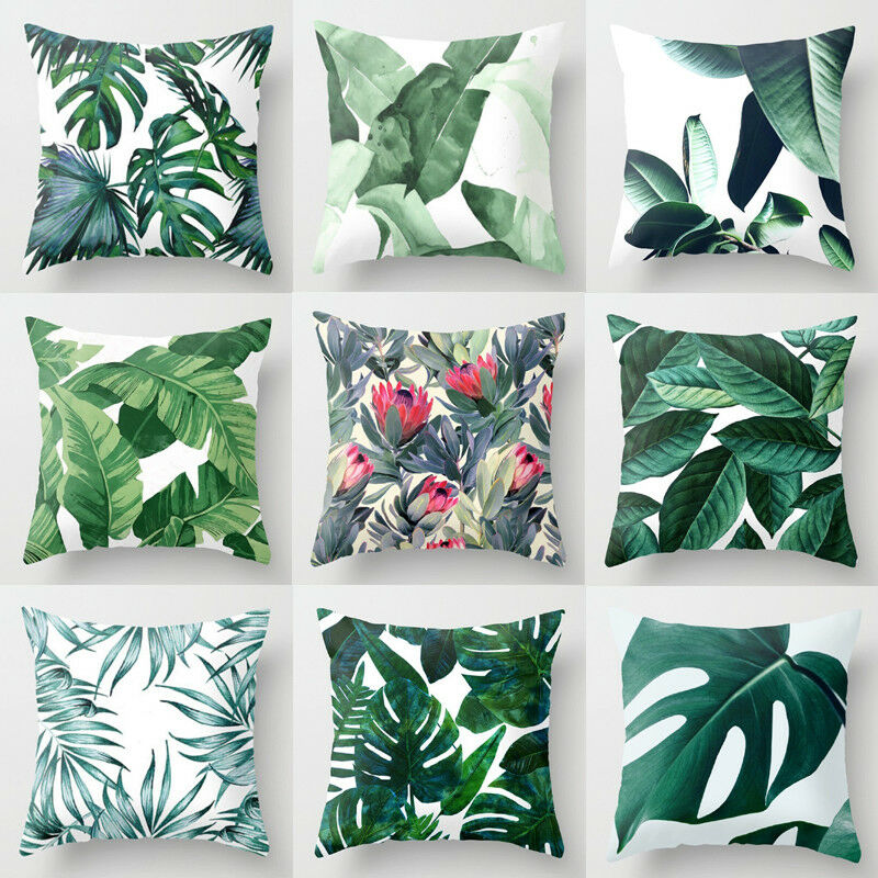 45 X 45cm Soft Polyester Green Leaves Pillow Case Sofa Waist Cushion Cover room Decor