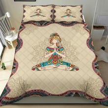 Mandala Yoga Girl 3pcs Quilt Pillowcase Bedding Set Queen King Size Quilted Duvet Cover Bed Cover Set Home Textiles