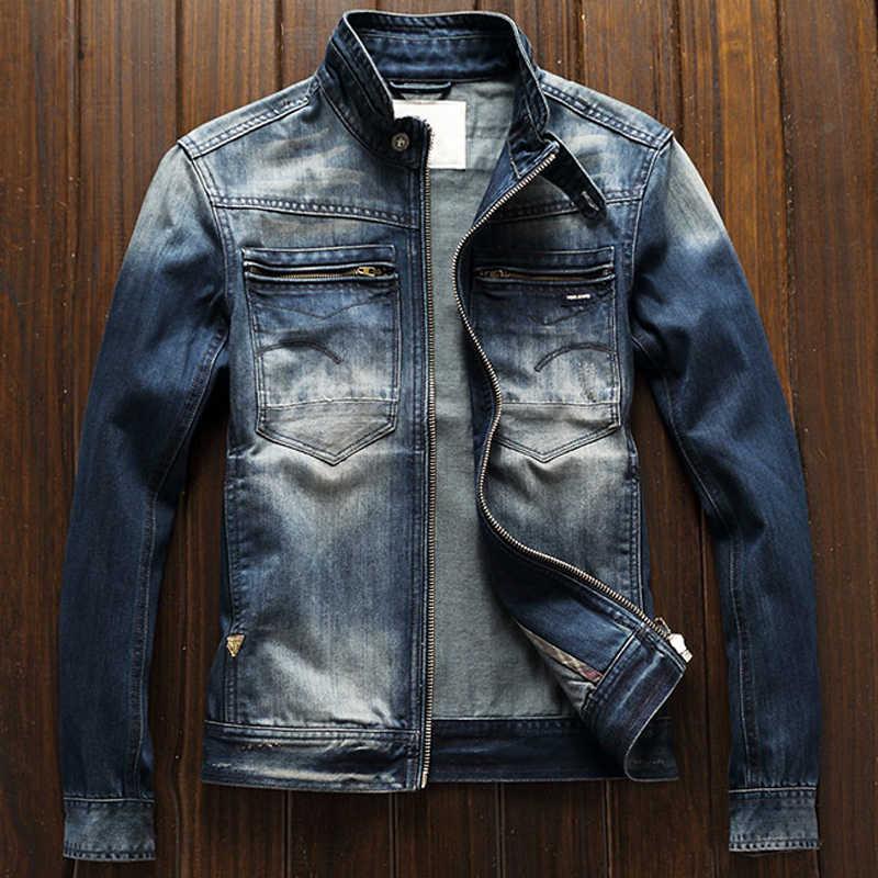 2020 米国スタイルオリジナルオートバイデニムジャケットマン名前のブランドのヴィンテージメンズジーンズジャケットプラスサイズ XXXL バイカーストリート A756