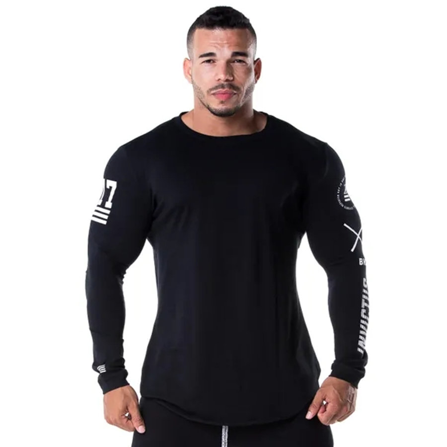 Long Sleeve Skinny T Shirt Mens Casual Fashion Print T-Shirt Male Gyms Fitness Workout Quick Dry Tees Tops Jogger Brand Clothing