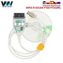 Автомобильный диагностический сканер для BMW INPA K DCAN FTDI FT232RL для BMW OBD 2 OBD2, инструмент для диагностики автомобиля, кабель INPA K + DCAN для BMW K-line K line