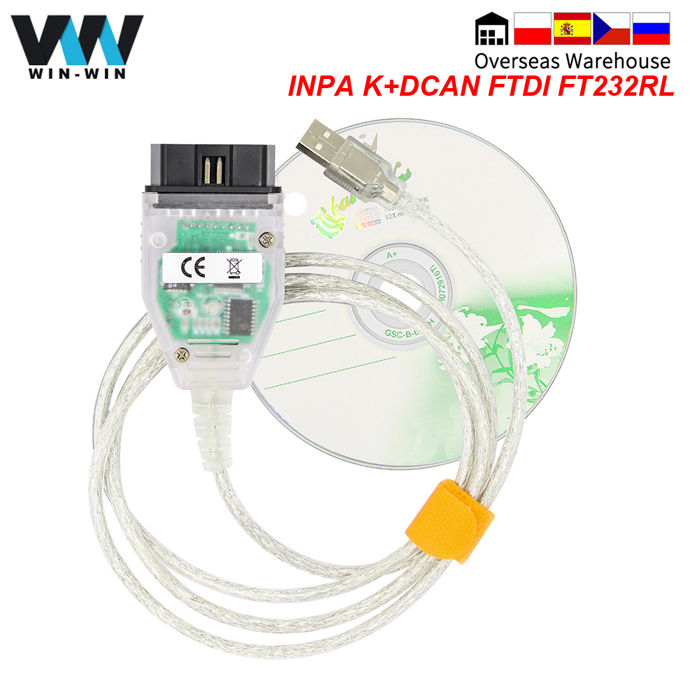 Para bmw inpa k dcan ftdi ft232rl para bmw obd 2 obd2 carro diagnóstico ferramenta de automóvel scanner cabo inpa k + dcan para bmw k-linha k linha