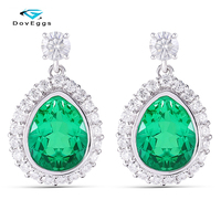 DovEggs Sterling Solid S925 7X9mm Emerald Pear Shape Drop Earrings with Moissanite Accents For Women Wedding Anniversary Gifts