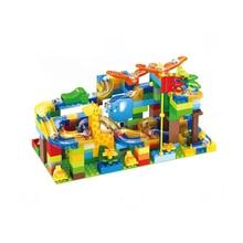 Blocs de construction de billes de marbre course et labyrinthe à glissière en ABS, briques de construction de grande taille 54 à 168 pièces compatibles doublées