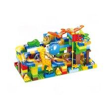 Gara marmo Run Labirinto Palle Pista Building Blocks ABS Imbuto Scivolo di Grandi Dimensioni di Un Edificio di Mattoni 54 168Pcs Compatibile duploed
