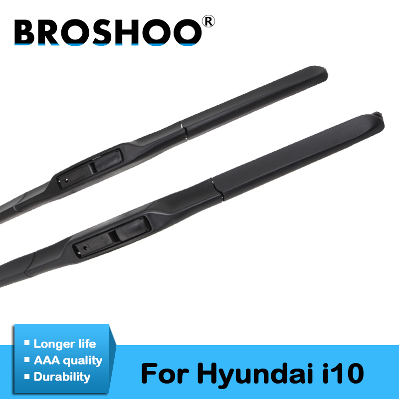BROSHOO Car Styling Wiper Blades Rubber For <font><b>Hyundai</b></font> <font><b>i10</b></font> <font><b>2008</b></font> 2009 2010 2011 2012 2013 2014 2015 2016 2017 Fit Standard Hook Arm image