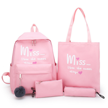 DIHOPE 4Pcs/set Women School Backpacks Nylon Schoolbag For Teenagers Girls Student Book Bag Boys Mochilas Sac A Dos