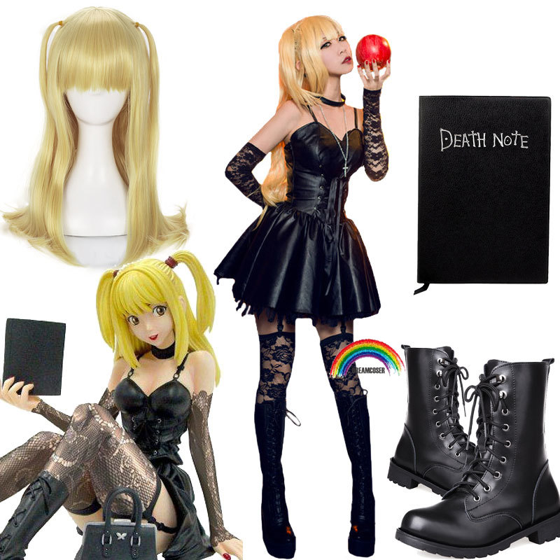 4 PICS Death Note Misa Amane Imitation Leather Sexy Tube Tops Lace Dress Uniform Outfit Anime Cosplay Costumes WIGS NOTRBOOK