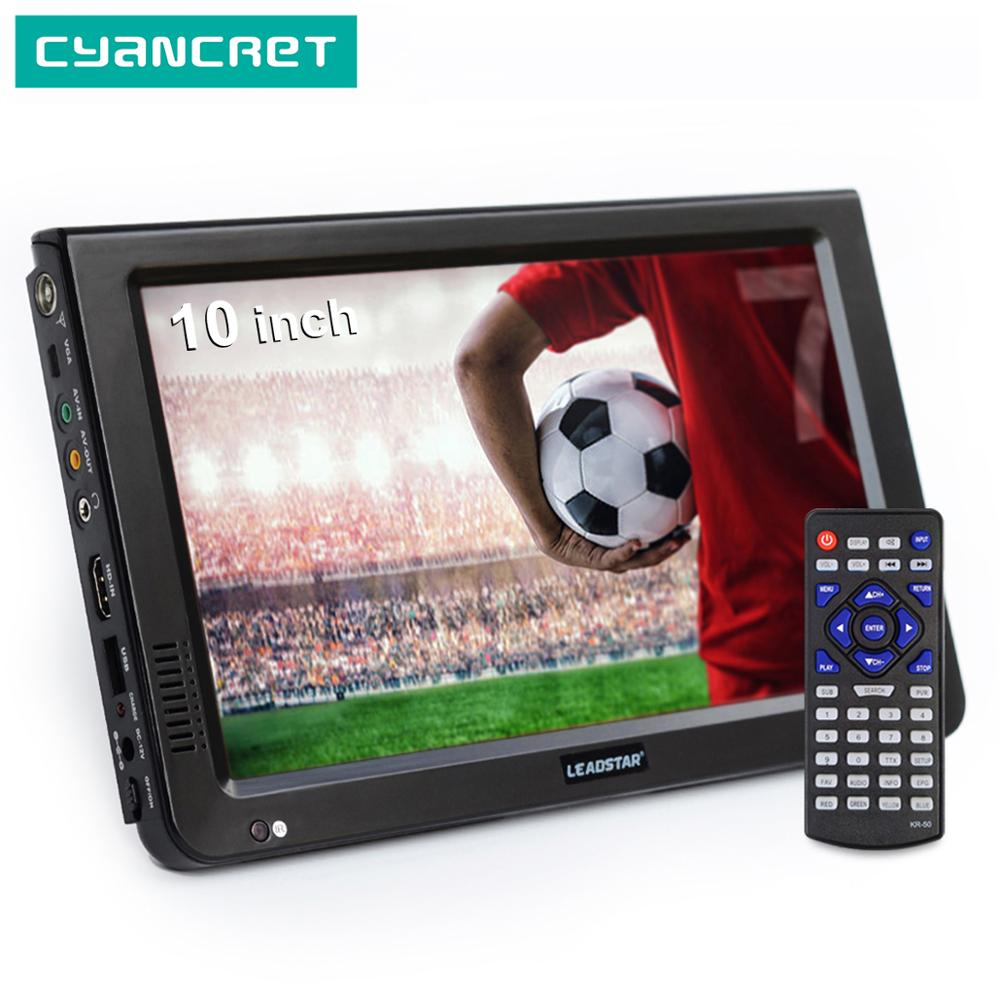 LEADSTAR 10 inch HD Portable TV DVB-T2 ATSC ISDB-T tdt Digital and Analog mini small Car Television Support USB SD MP4 H.265 AC3 image