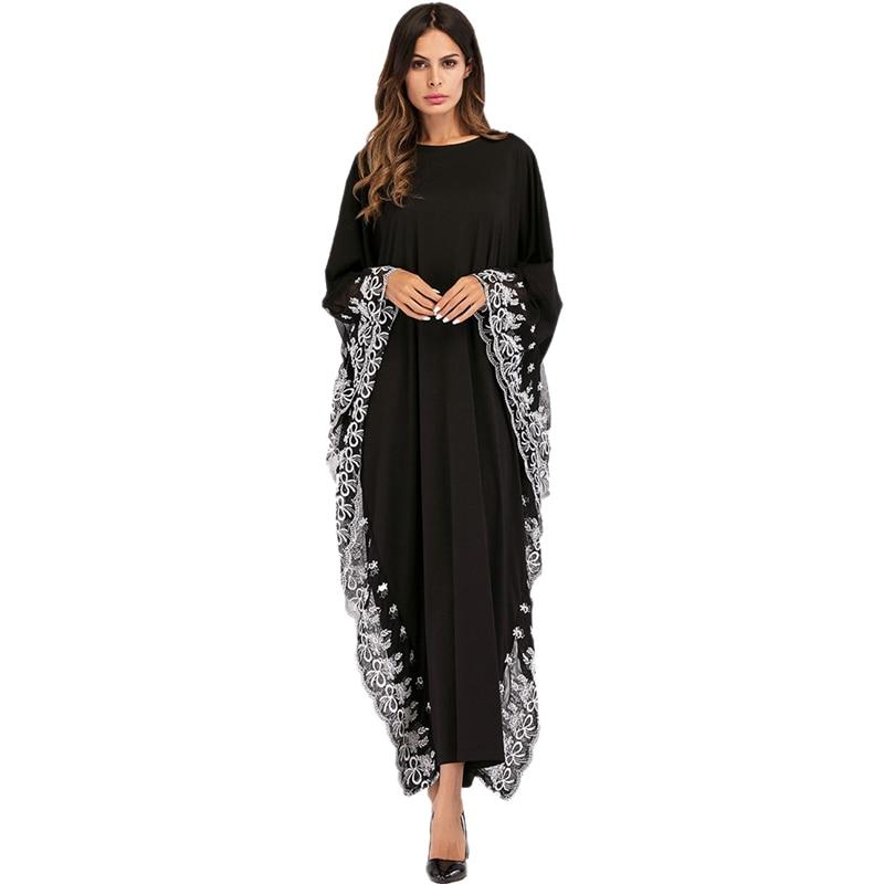 Fashion Adult Lace Embroidered Splice Dress Women Bat Sleeve Loose Plus Size Dress Dubai Abaya Musulman Arab Worship Service