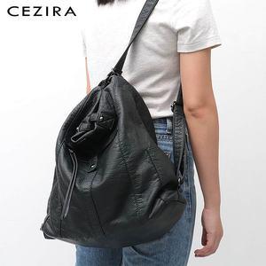 Image 5 - CEZIRA sıcak satış PU yıkanmış deri kadın büyük omuzdan askili çanta bayanlar yumuşak Vegan deri sırt çantaları kadın fonksiyonlu okul sırt çantası