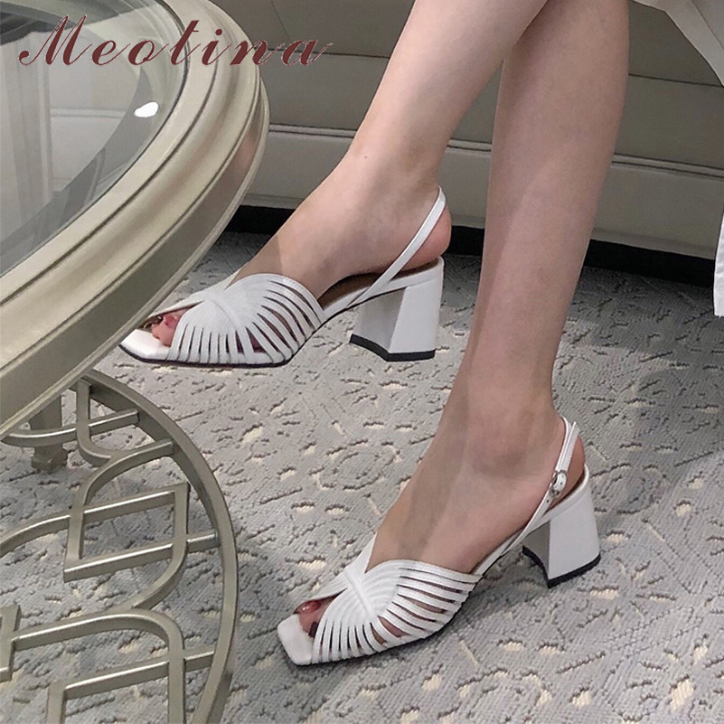 Meotina Summer Sandals Women Shoes Natural Genuine Leather Thick High Heel Shoes Real Leather Cutout Open Toe Sandals Lady 33-40