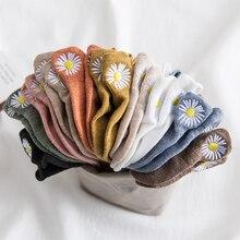 5pairs/pack Embroidery Daisy Women Socks Cotton Multicolor Chrysanthemum Retro C