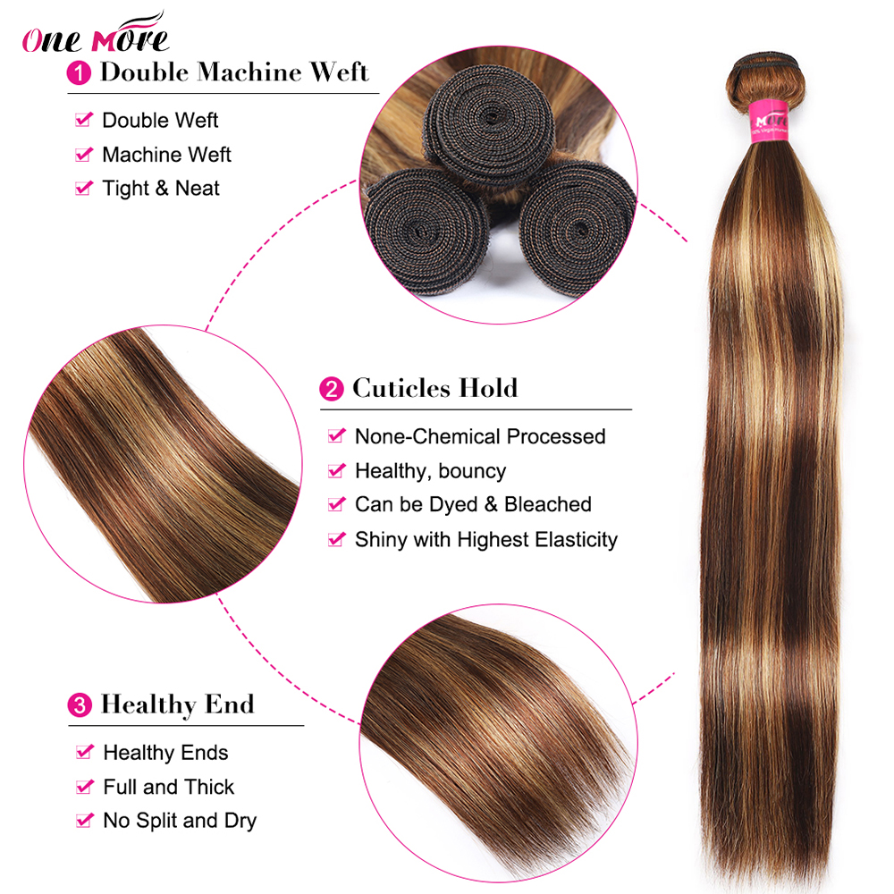 4 27 Highlight Bundles Bone Straight Bundles   Bundles 8-28 Inch  s Double Weft 2
