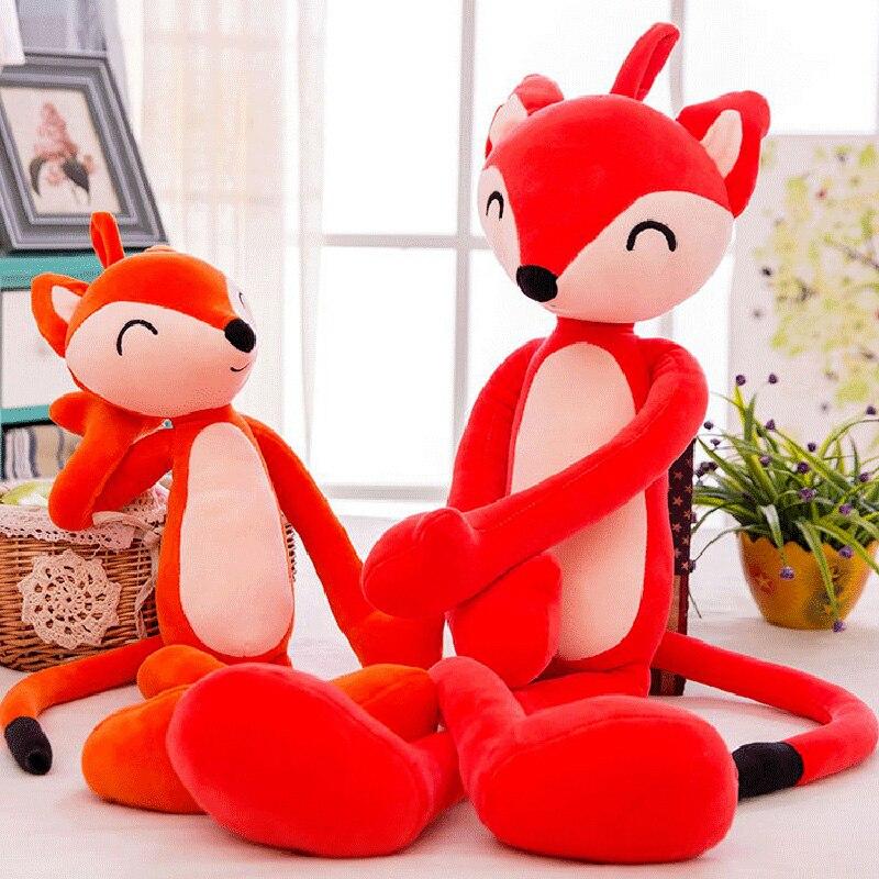 Big Simulation Fox Toys Stuffed Toys Fox Pillow Wedding Gift Plush Toy Soft Children's Doll Wall Mountable Birthday Present