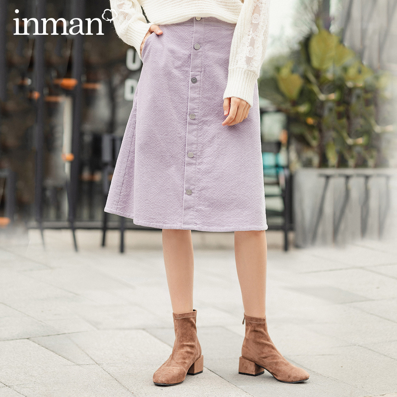 INMAN 2020 Spring New Arrival Literary High Wasit Single Breasted A Pendulum Loose Skirt