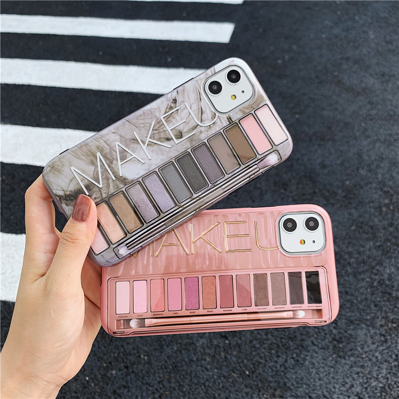 Luxury <font><b>sexy</b></font> makeup MAKEU eye shadow box <font><b>Case</b></font> For <font><b>iPhone</b></font> 6 6s <font><b>7</b></font> 8 Plus X XS MAX XR Nude color eyeshadow new rose gold Cover image