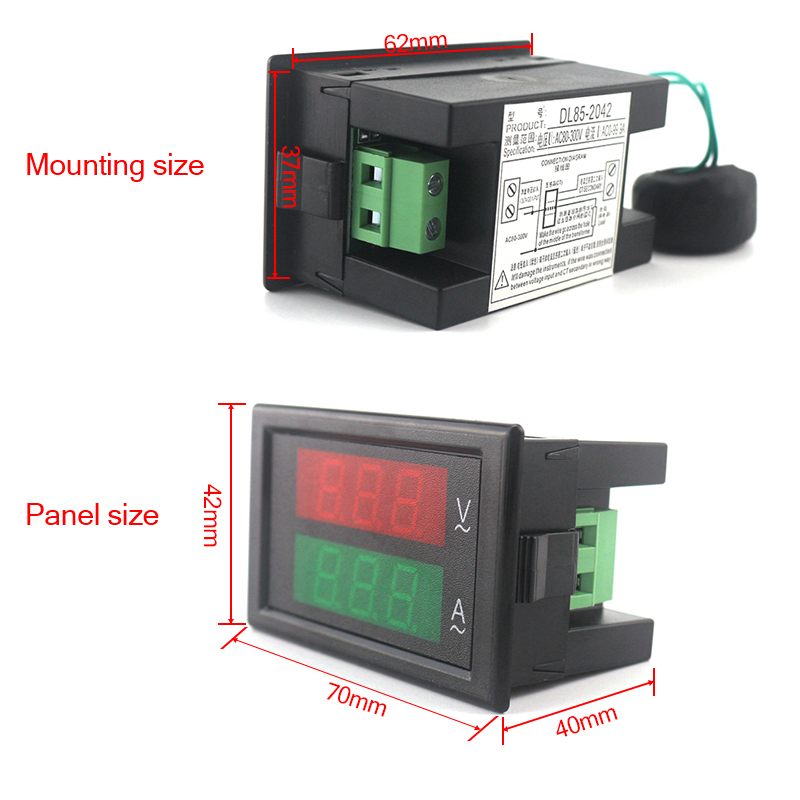 Voltímetro Amperímetro Digital AC 80-300V 0-100A Led voltímetro - Instrumentos de medición - foto 4